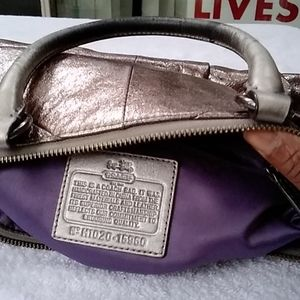 Coach metallic silver satchel purse.
